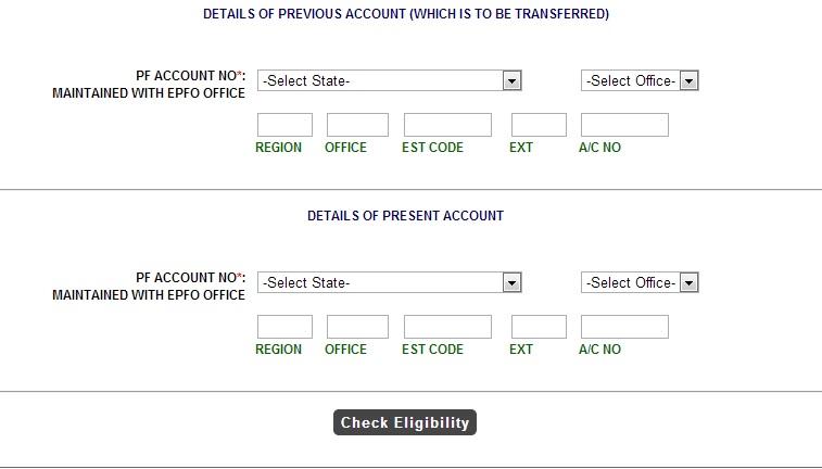Online-PF Transfer-Check Eligibility
