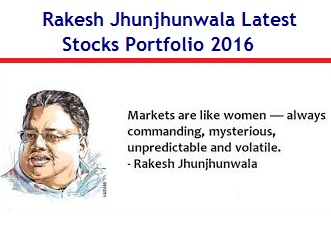 Rakesh Jhunjhunwala Latest Stocks Portfolio May-2016