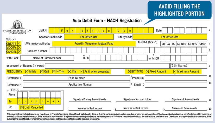 Sample NACH Form