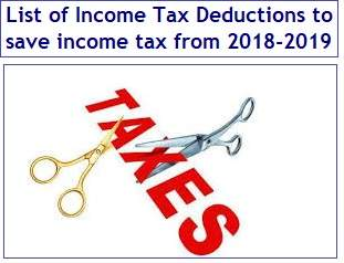 List of Income Tax Deductions to save income tax from FY2018-2019