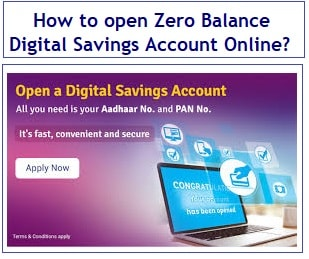 How to open Zero Balance Digital Savings Account Online