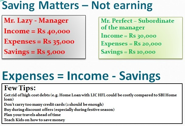 Savings Matter and Not earnings