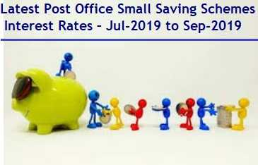 Latest Post Office Small Saving Schemes Interest Rates – Jul-2019 to Sep-2019