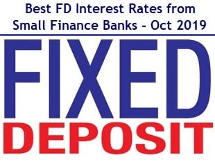 Best FD Interest Rates from Small Finance Banks-Oct-2019