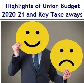 Highlights Union Budget 2020-21 – Key Take aways