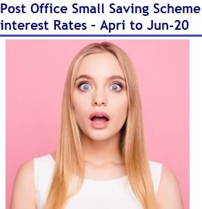 Post Office Small Saving Scheme interest Rates – April, May and Jun 2020