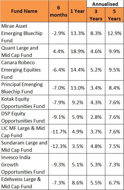 Performance of largecap & midcap fund in 2020