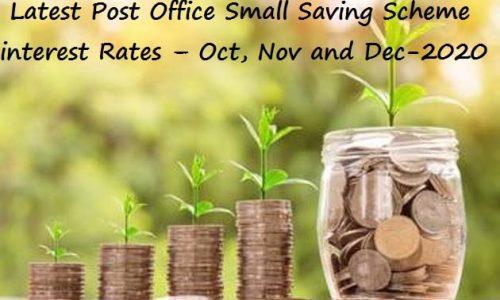 Latest Post Office Small Saving Scheme interest Rates - Oct Nov and Dec-2020