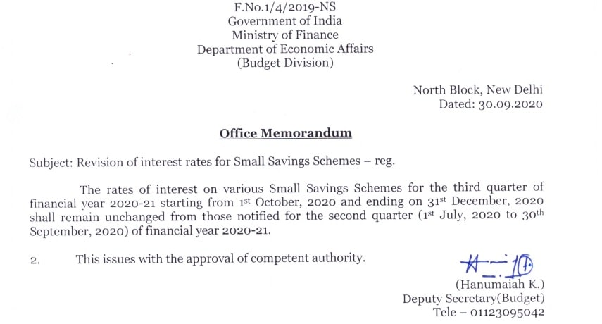 Ministry of Finance Govt of India - Post office small saving schemes Oc to Dec 20 notification