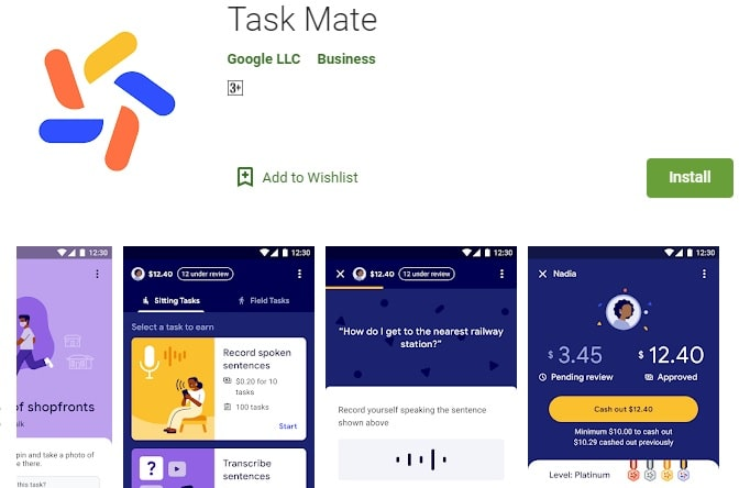 Google Task Mate App - Earn money online - Installation page