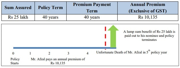 Illustation of Max Life Saral Jeevan Bima - Standard Term Insurance Plan